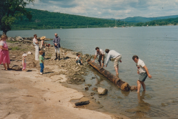 Pulling a timber from the lake - circa 1991